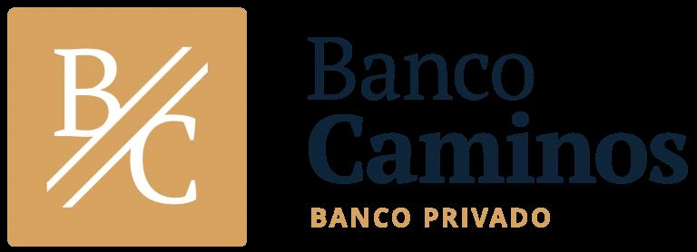 Logo del Banco Caminos de color negro y ocre con fondo transparente.