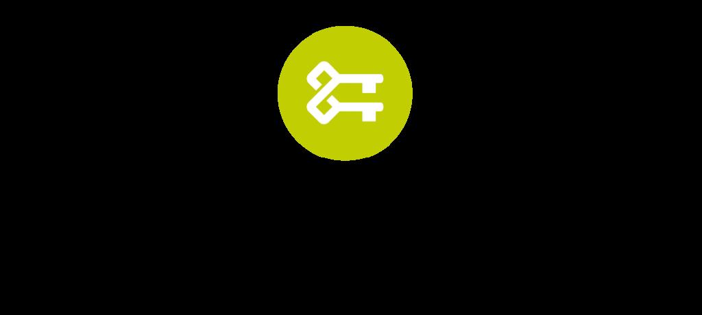 Logo de Crédit Androrrà de color verde y negro con fondo transparente.