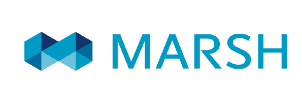 Logo de Marsh de color azul con fondo transparente.