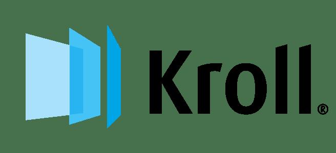 Logo de Kroll de color azul y negro con fondo transparente.
