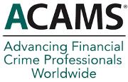 Logo de ACAMS, color verde botella y negro con fondo transparente.