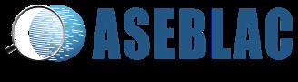 Logo de ASEBLAC de color azul con fondo transparente.