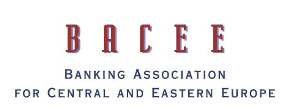 Logo de la Banking Association for Central and Eastern Europe (BACEF), color rojo y negro con fondo transparente.