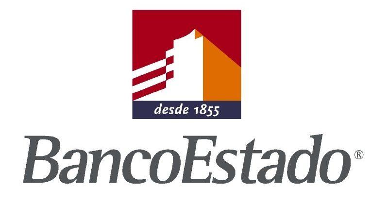 Logo del Banco Estado de color naranja, rojo y gris con fondo transparente.