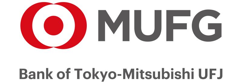 Logo del Bank of Tokyo MUFG de color gris y rojo con fondo transparente.