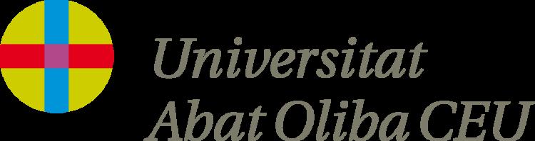 Logo de la Universidad CEU Abat Oliba de color gris oscuro, azul, rojo y verde con fondo transparente.