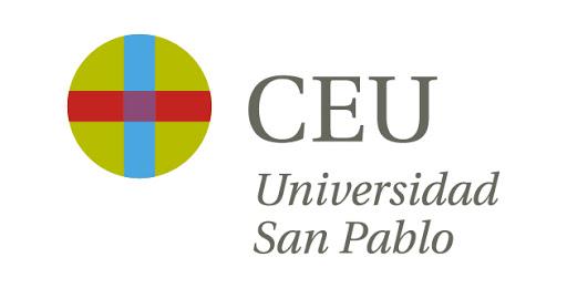 Logo de la Universidad CEU San Pablo de color gris oscuro, azul, rojo y verde con fondo transparente.