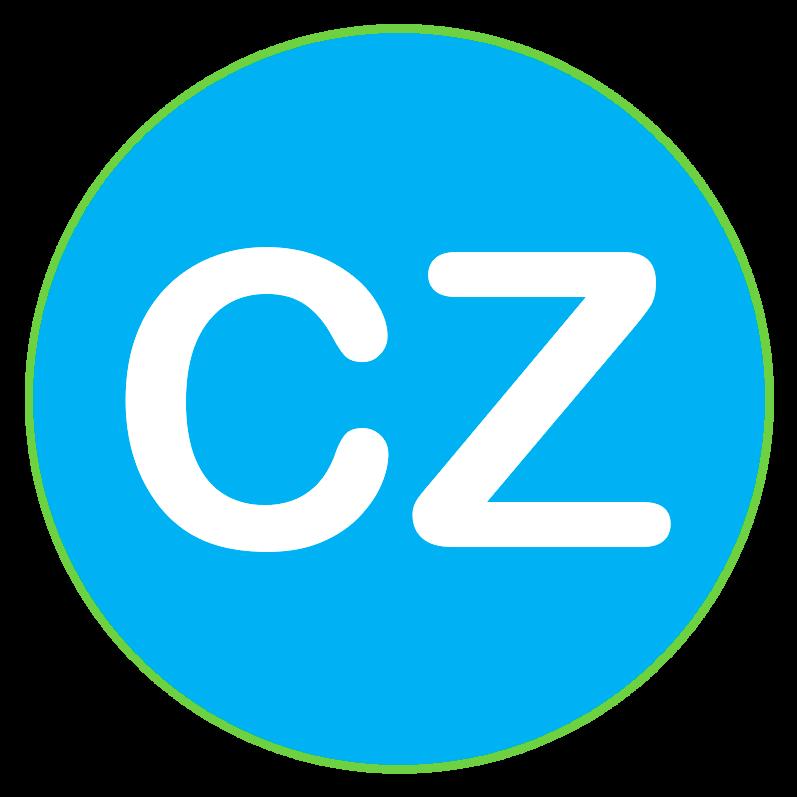 Logo de ComplianZen, una esfera de color azul claro con una C y una Z de color blanco.