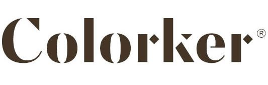 Logo de Colorker de color marrón con fondo transparente.