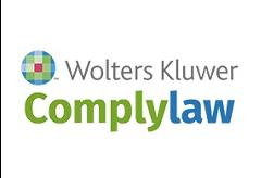 Logo de Wolters Kluwer ComplyLaw de color gris, verde y azul con fondo transparente.