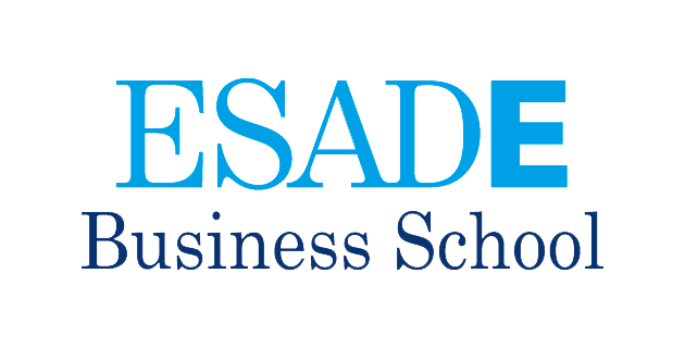 Logo de ESADE Business School de color azul con fondo transparente.