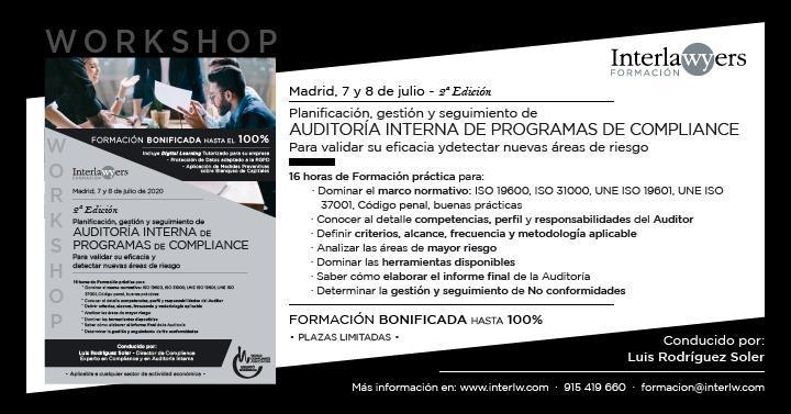 Flayer del evento Compliance de Interlawyers en Madrid