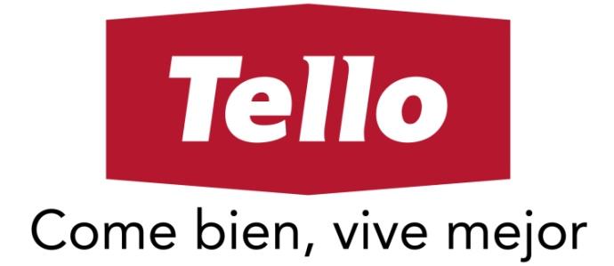Logo de Tello comida de color rojo y blanco con fondo transparente.
