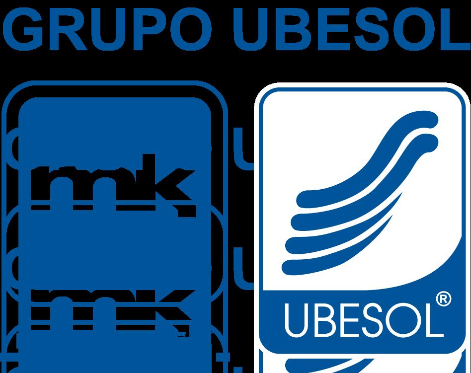 Logo del Grupo Ubesol de color azul y blanco con fondo transparente.
