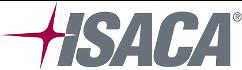 logo de ISACA, color gris con una estrella granate y el fondo transparente