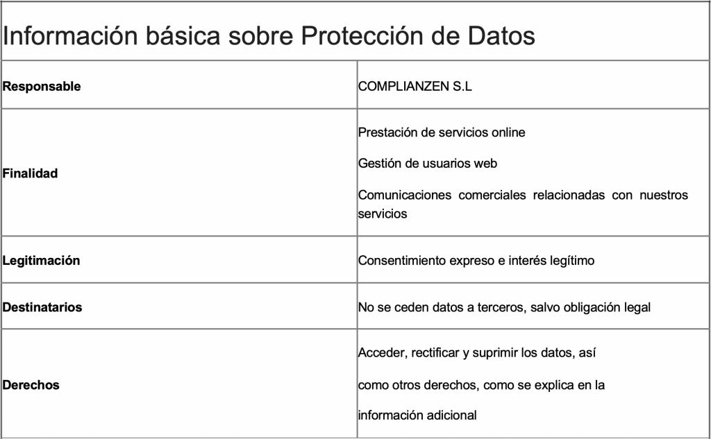 Información básica sobre Protección de datos, responsable de los datos, finalidad de los datos y otra información.