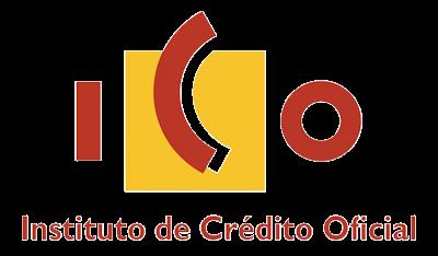 Logo del Instituto de Crédito Oficial (ICO) de color rojo y amarillo con fondo transparente.