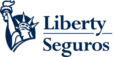 Logo de Liberty Seguros en el que aparece la estatua de la libertad de color azul con fondo transparente.