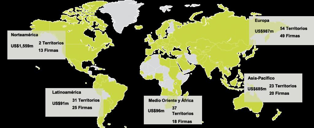 Mapamundi con las regiones en las que ComplianZen tiene oficina, Europa, América, África, Asia y Oceanía.