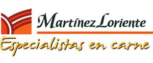Logo de Martinez Loriente Especialistas en Carne de color negro, naranja y rojo con fondo transparente.