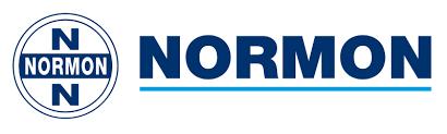 Logo de Normon de color blanco y azul con fondo transparente.