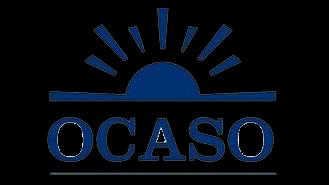 Logo de Ocaso Seguros con un sol de color azul y el texto en color azul. La imagen tiene un fondo transparente.