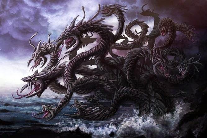 Hidra mitológica con múltiples cabezas en el agua