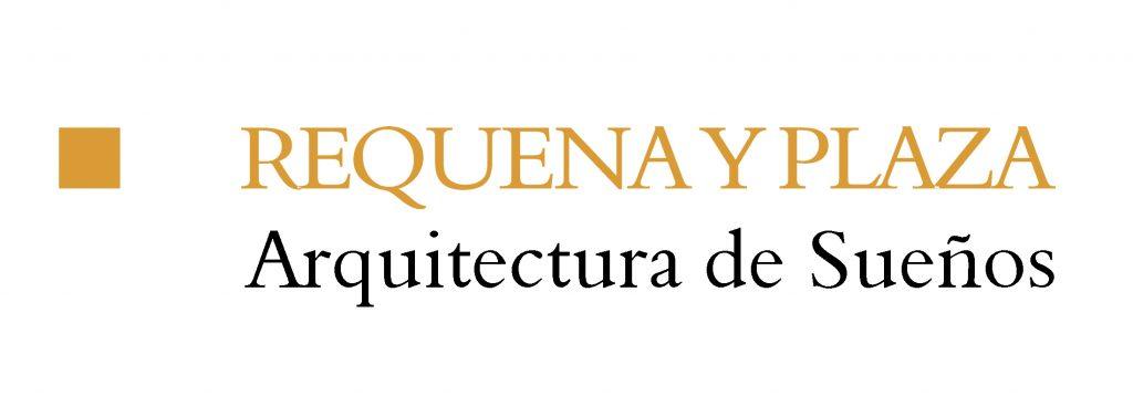 Logo de Requena y Plaza de color dorado y negro con fondo transparente.