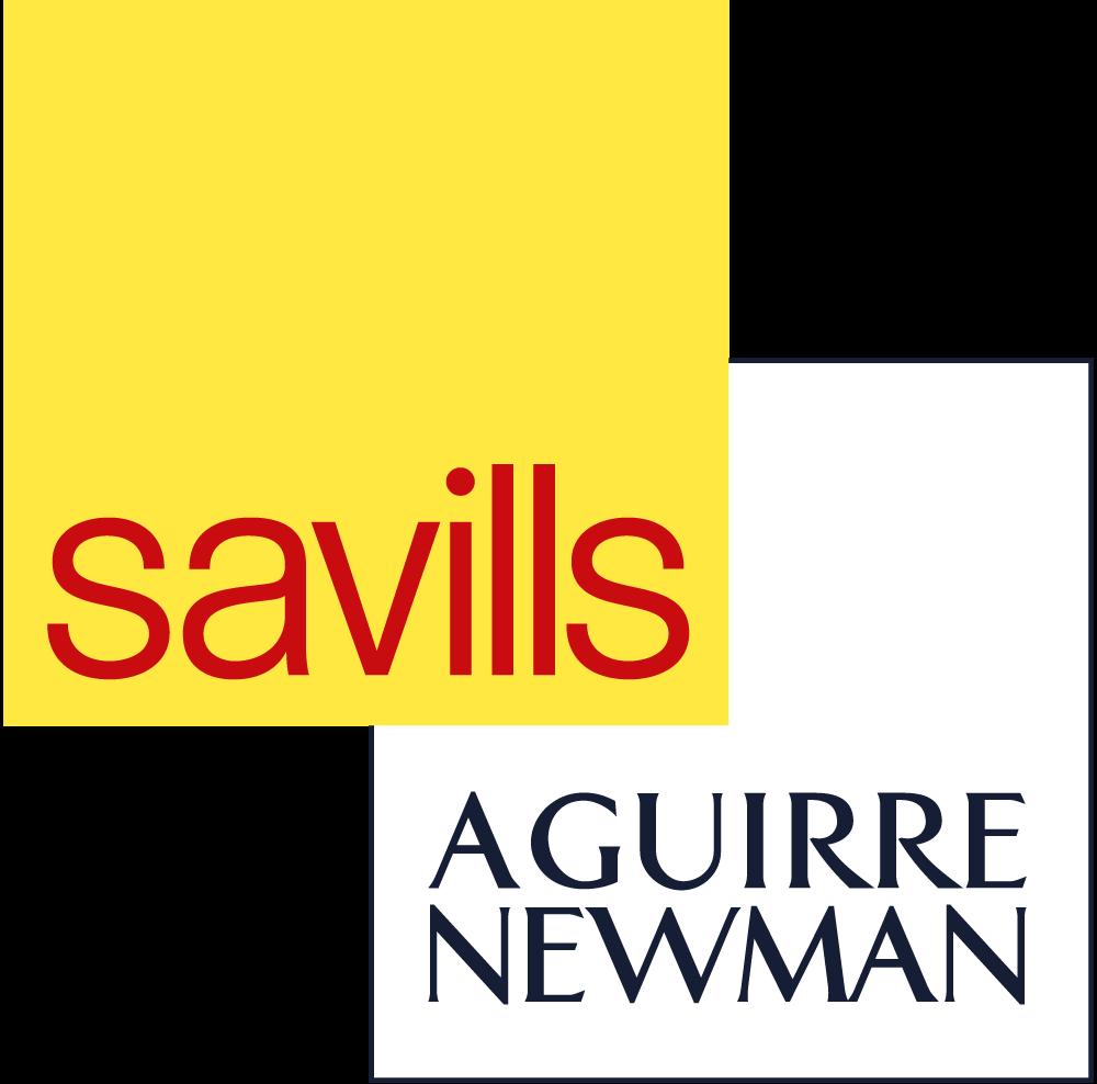 Logo de Savills Aguirre Newman de color amarillo, rolo, negro y blanco con fondo transparente.