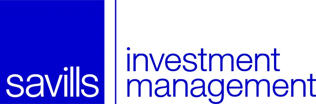 Logo de Savills Investment Management de color blanco y azul con fondo transparente.