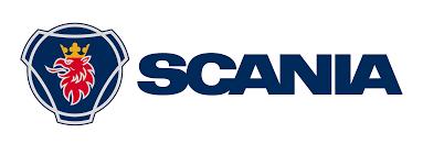 Logo de SCANIA de color azul y rojo con fondo transparente.