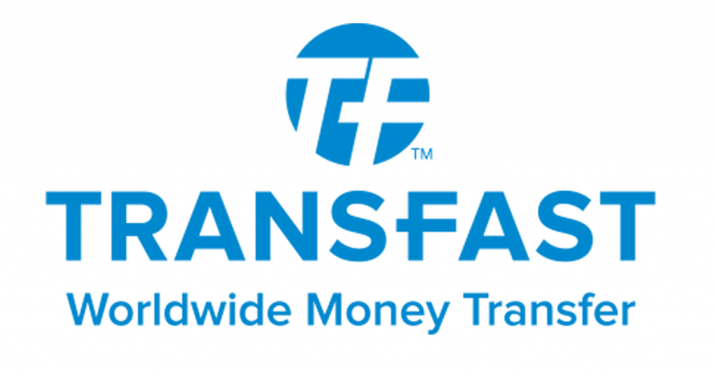 Logo de Transfast Worldwide Money Transfer de color azul con fondo transparente.