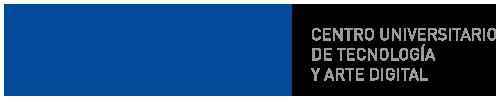 Logo del Centro Universitario de Tecnología y Arte Digital (UTAD) de color azul y gris con fondo transparente.