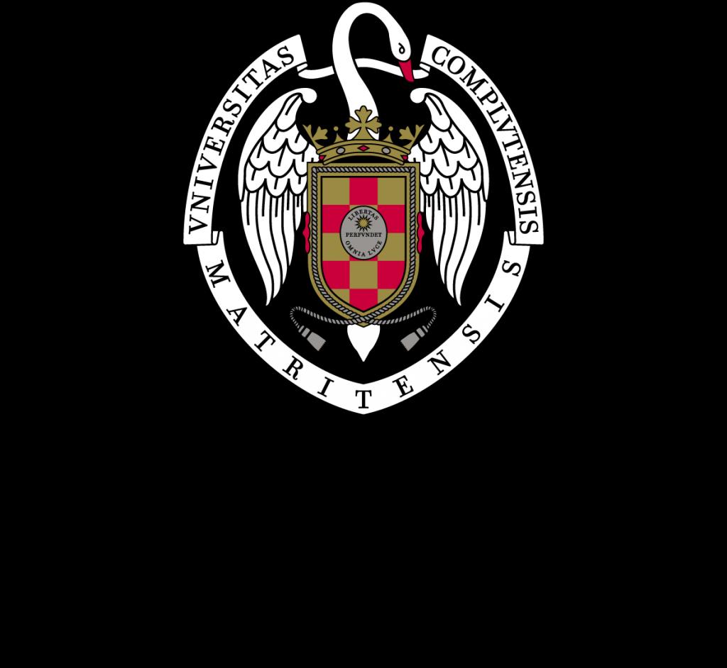 Logo de la Universidad Complutense de Madrid de color negro, blanco y rojo con fondo transparente.