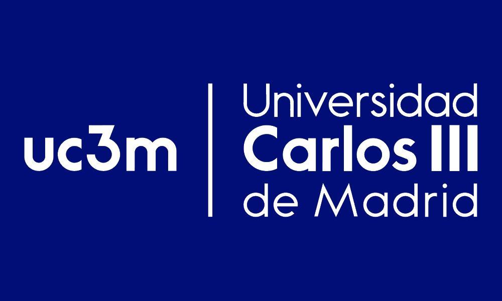 Logo de la Universidad Carlos III de Madrid (UC3M) de color azul con letras blancas.