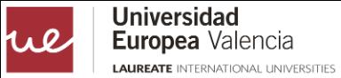 Logo de la Universidad Europea de Valencia de color rojo y negro con fondo transparente.