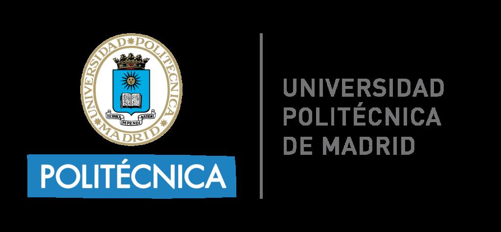 Logo de la Universidad Politécnica de Madrid de color gris, azul y blanco con fondo transparente.