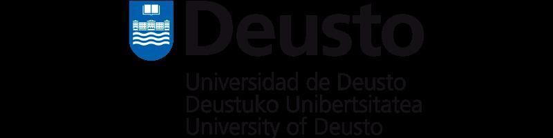 Logo de la Universidad de Deusto de color azul y negro con fondo transparente.