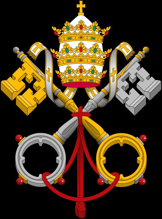 Logo de la Ciudad del Vaticano, dos llaves grandes cruzadas y entrelazadas por una cuerda roja, encima de las llaves hay una corona.
