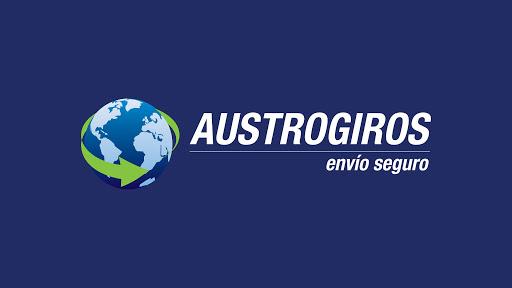Logo de austrogiros envíos seguros de color blanco y verde con fondo azul.