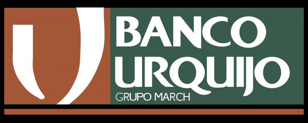 Logo del Banco Urquijo de color verde y naranja oscuro con fondo transparente.