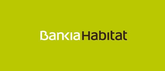 Logo de bankia habitat de color blanco y negro con un fondo verde.