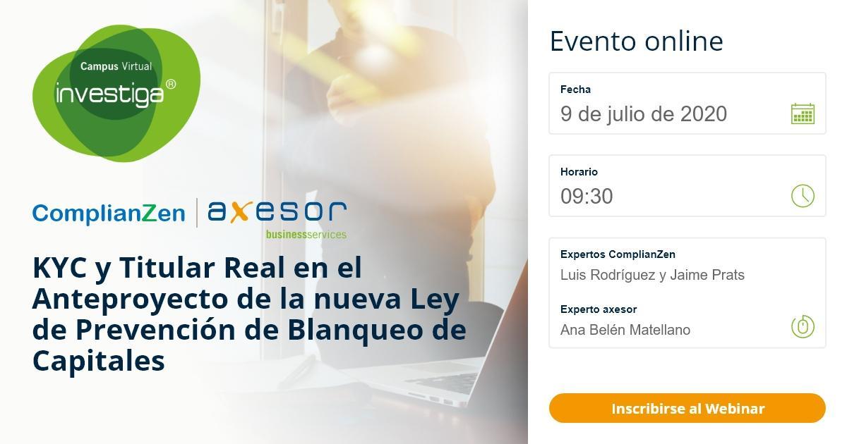 Flayer del evento webinar sobre Compliance de Axesor y ComplianZen