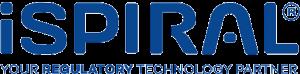 Logo de iSPIRAL de color azul con fondo transparente.