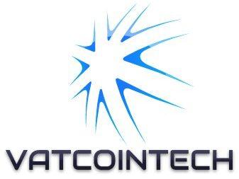 Logo de Vatcointech de color Negro y Azul con fondo transparente.