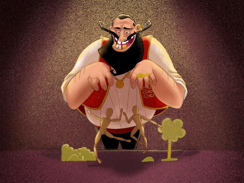 Se ve un hombre maligno, en este caso el testaferro controlando unas marionetas para que se pelen entre ellas.