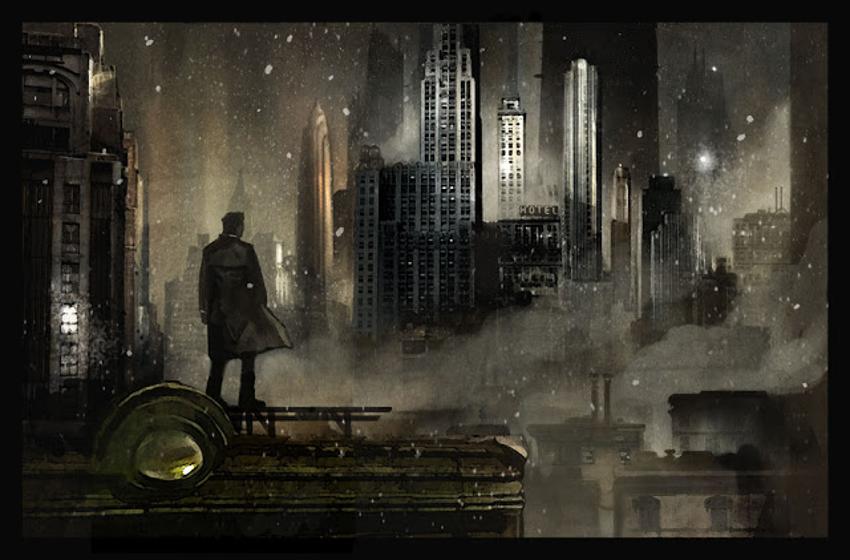 Imagén panorámica desde la azotea de un bloque de pisos. En la azotea vemos un personaje negro de espaldas que contempla la ciudad iluminada de noche mientras cae nieve.