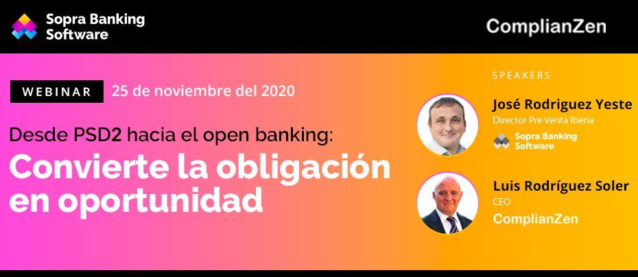 Banner de color anaranjado con texto blanco que te invita a asistir a un webinar online el día 10 de Noviembre sobre la PSD2 y el openbanking.