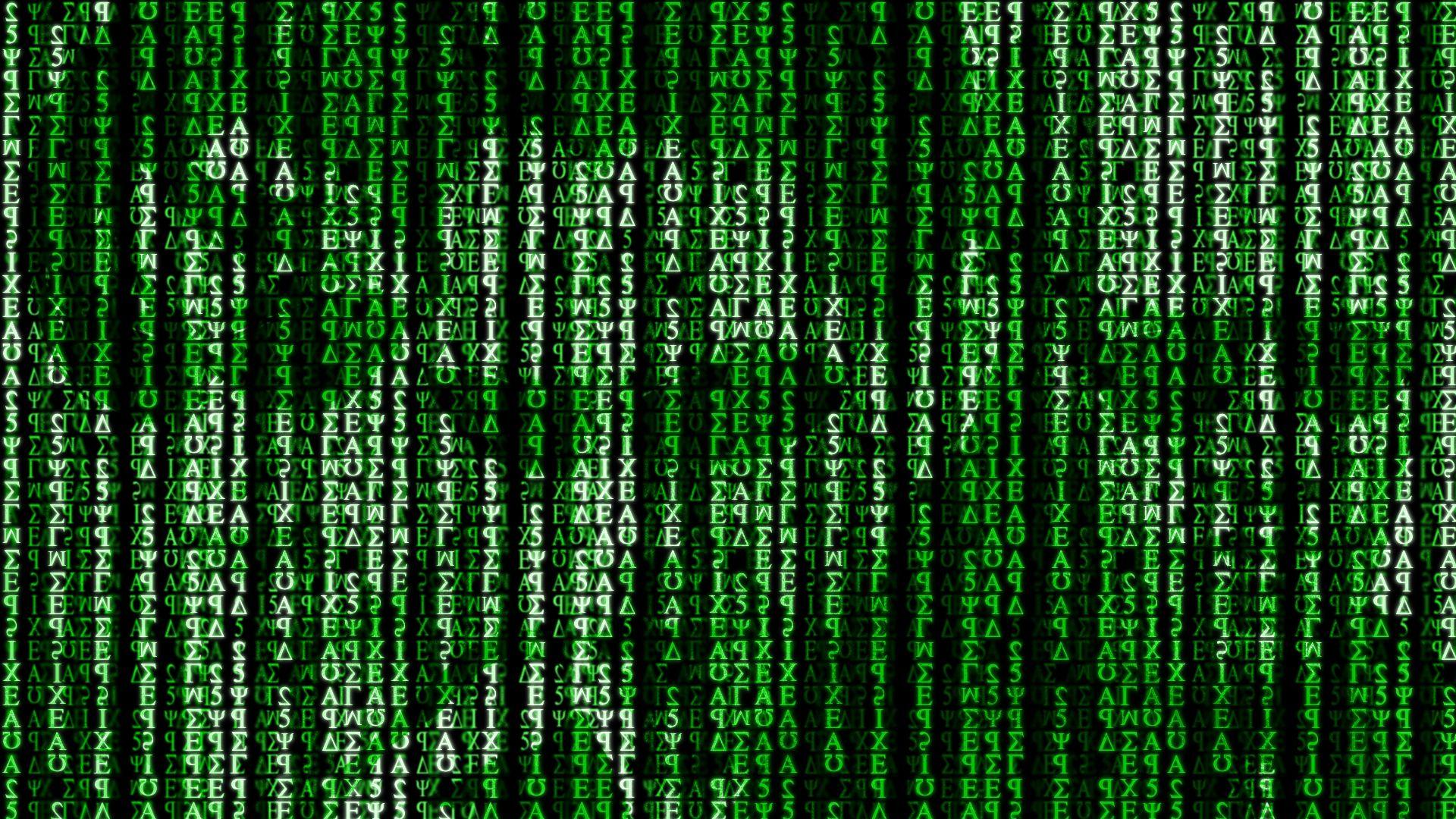 Pantalla de color negro con infinidad de números, letras y caracteres de color verde en posición vertical.