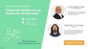 Webinar sobre Diligencia Debida en materia prevención de Blanqueo de Capitales, dirigido por Luis Rodríguez Soler y Alejandro D. Caneda.